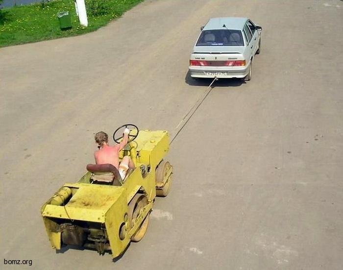 Способы буксировки авто на гибкой сцепке